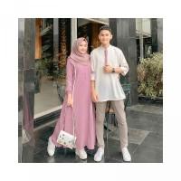 FARZANA COUPLE Moscrepe Motif Garis Putih Pada Bagian Samping Baju Den