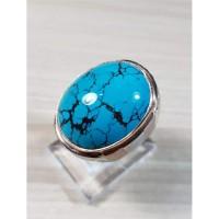 Cincin Batu Pirus Biru Toska Xinjiang (ring perak hand made uk 19)
