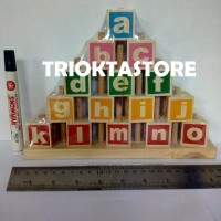 Wooden Toys Mainan Kayu Edukasi APE Balok Susun Piramid Huruf Abjad