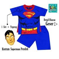 Setelan Anak Baju KOSTUM SUPERHERO SUPERMAN PENDEK+TOPENG USIA 2-10THN