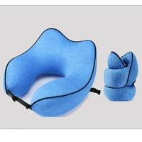Bantal Leher Travel Pillow Rollable Design & Premium Quality - Dark Blue