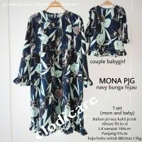 Mamigaya Baju Hamil Menyusui Mona Panjang Couple Navy Bunga Hijau