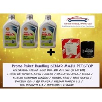 Paket Oli Shell Helix ECO 0W-20 - 3 Liter & Filter NISSAN MARCH 1.2