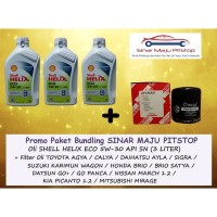 Paket Oli Shell Helix ECO 5W-30 - 3 Liter & Filter NISSAN MARCH 1.2