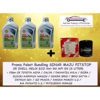 Paket Oli Shell Helix ECO 5W-30 - 3 Ltr & Filter DATSUN GO PANCA & GO+