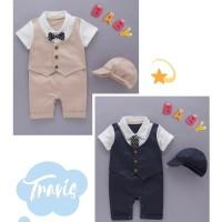 BC 1327-TRAVIS BROWN rOMPER bayi baju newborn baju anak pesta resmi