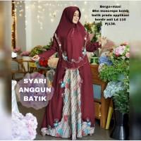 SYARI ANGGUN BATIK MAROON [Gamis 0100] TCL Baju Gamis Wanita Terbaru