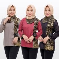 Blouse Batik Wanita | Blus Batik Kombinasi Seragam Kerja Keren BB027