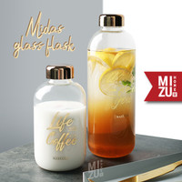 MIDAS Glass Flask Water Bottle Sleeve Botol Air Minum Kaca BPA-Free