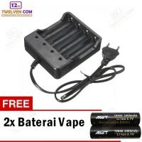 Charger Desktop Batere Vape 4 Slot + 2PCS Batere Vape AWT 3400 18650