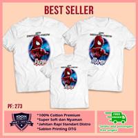 Baju Kaos Keluarga Ultah|Couple| Kaos Motif Spiderman 13 Bebas Custom
