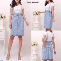 dress jeans 352/ baju kodok wanita/ terusan jeans wanita/rok jeans