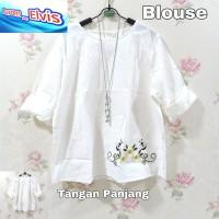 Blouse / Atasan / Wanita / Orange / Bordir Bunga 07 XL