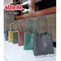 Tas Anyaman Plastik / Tas Plastik / Tas Pasar Candy Colour size M