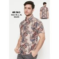 Baju kemeja fashion Pria Cowok Batik Slim Fit Lengan Panjang Murah