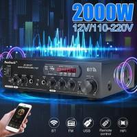 2000W 12V/110V-220V Home bluetooth Power Amplifier w Remote Control