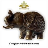 Rupang/Patung/Arca Gajah Motif Batik Bronze/Perunggu 4 inch