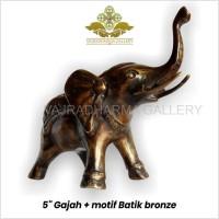 Rupang/Patung/Arca Gajah + Motif Batik Bronze/Perunggu 5 inch