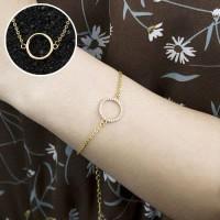 Stainless Steel Ladies Bracelet Jewelry Round Pendant Gold
