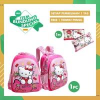 PROMO ITEM BUNDLING Tas & Tempat Pensil Sekolah Anak Hello Kitty