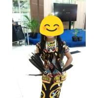 baju kostum tari adat dayak kalimantan set asesoris lengkap murah