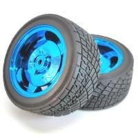 Roda Robot Smart Car 82mm Blue RC Whell Velg Ban Karet Radial