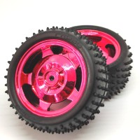 Roda Robot Smart Car 85mm Red RC Whell Velg +Ban Duri Track OffRoad