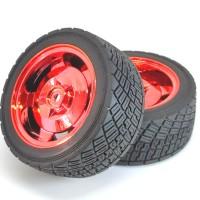 Roda Robot Smart Car 82mm Red RC Whell Velg Ban Karet Radial