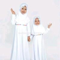 Baju muslim gamis anak perempuan warna putih untuk manasik putih s