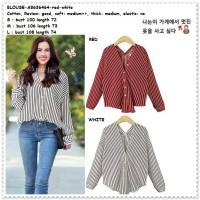 Baju Atasan Kemeja Garis Merah Putih Red Wanita Korea Import AB636464