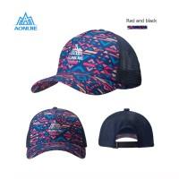 Aonijie E4106 Cap Hat Mesh - Topi Sport Lari Sepeda Golf - RED BLACK