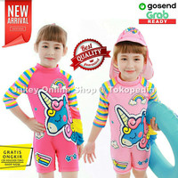 Baju Renang Anak Cewek Perempuan 2-8 Thn Motif 3D UNICORN STRIP + TOPI