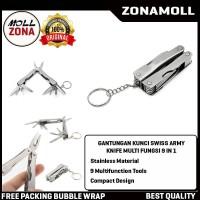 Gantungan kunci Swiss army Knife Multifunction Tool 9 in 1 Keychain