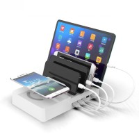 Dock Charger USB dengan Stand Holder Multi Port untuk Handphone /