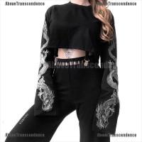 [Above] Kaos T-Shirt Model Longgar Motif Bordir Naga Gothic untuk