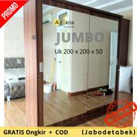 Lemari Pakaian Jumbo Ukuran Besar Pintu Sliding Full Kaca Cermin Murah - 2 Pintu Sliding