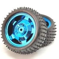 Roda Robot Smart Car 85mm Blue RC Whell Velg +Ban Duri Track Off-Road