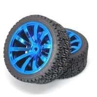 Roda Robot Smart Car 67mm Blue RC Whell Velg Ban Karet Radial