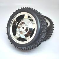Roda Robot Smart Car 85mm Silver RC Whell Velg Ban Duri Track Off-Road