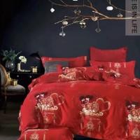 Bedcover set Katun Jepang warna Merah ukuran 160 - 200 Kado Pernikahan
