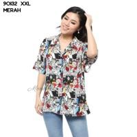 Baju Kemeja Blouse Wanita Lengan Pendek Retro Kartun Cewek 90132