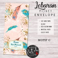 Amplop Kondangan Angpao Wedding Lebaran Custom Nama feather merak 3