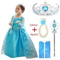 Baju Dress Kostum Elsa Frozen Blue