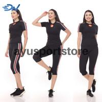 Pakaian olahraga wanita baju senam aerobic jumbo warna hitam