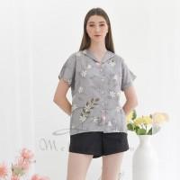 Piyama Kemeja Baju Tidur Pajamas Evee Flaminggo Flower Meliana Liu
