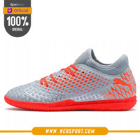 Sepatu Futsal Puma Future 4.4 IT Grey Orange Original 105691 01