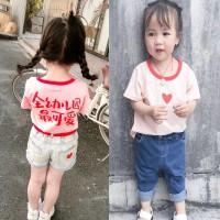 Bayi perempuan Anak-anak Lucu Cina Surat T-shirt 100% Cotton Anak