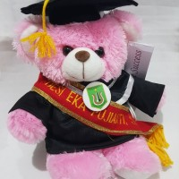 READY STOCK boneka wisuda puffy bear pink dengan selempang wisuda