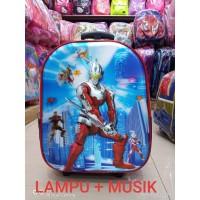PROMO Tas Anak Laki2 Trolley TK LAMPU + Musik Motif ULTRAMAN 5D Timbul