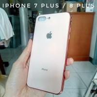 Casing iPhone 7 Plus 8 Plus Glass Kaca Apple Logo Soft Case Rose Gold